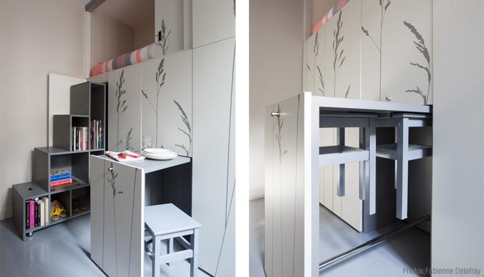 Space Saving with Hidden Amenities - Tiny 8 sqm Parisian Apartment  (12)