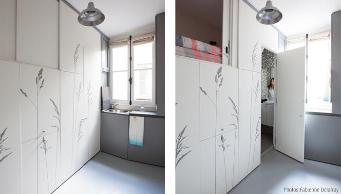 Space Saving with Hidden Amenities - Tiny 8 sqm Parisian Apartment  (8)