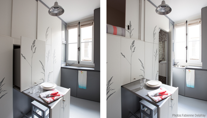 Space Saving with Hidden Amenities - Tiny 8 sqm Parisian Apartment  (9)