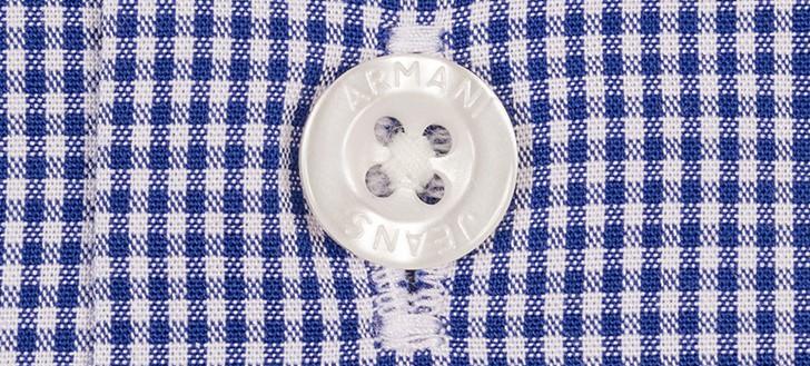 Armani-Blue-Button-Down-Gingham-Long-Sleeve-Shirt-5 (2)